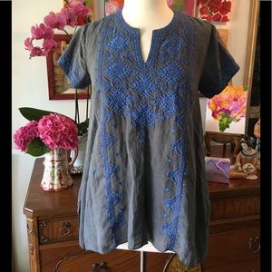 Johnny Was Azure Boho Drape Top